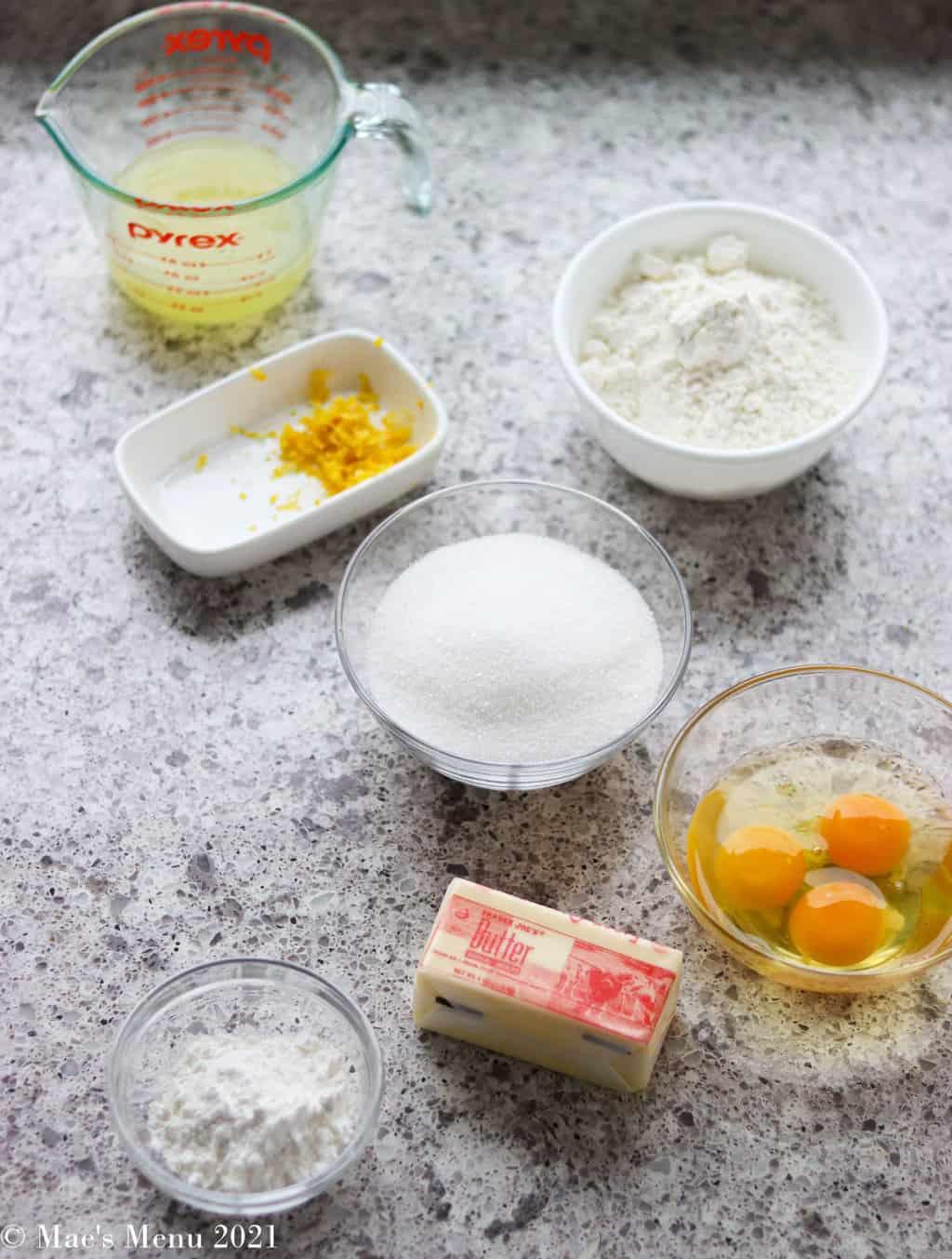 All the ingredients for homemade lemon bars