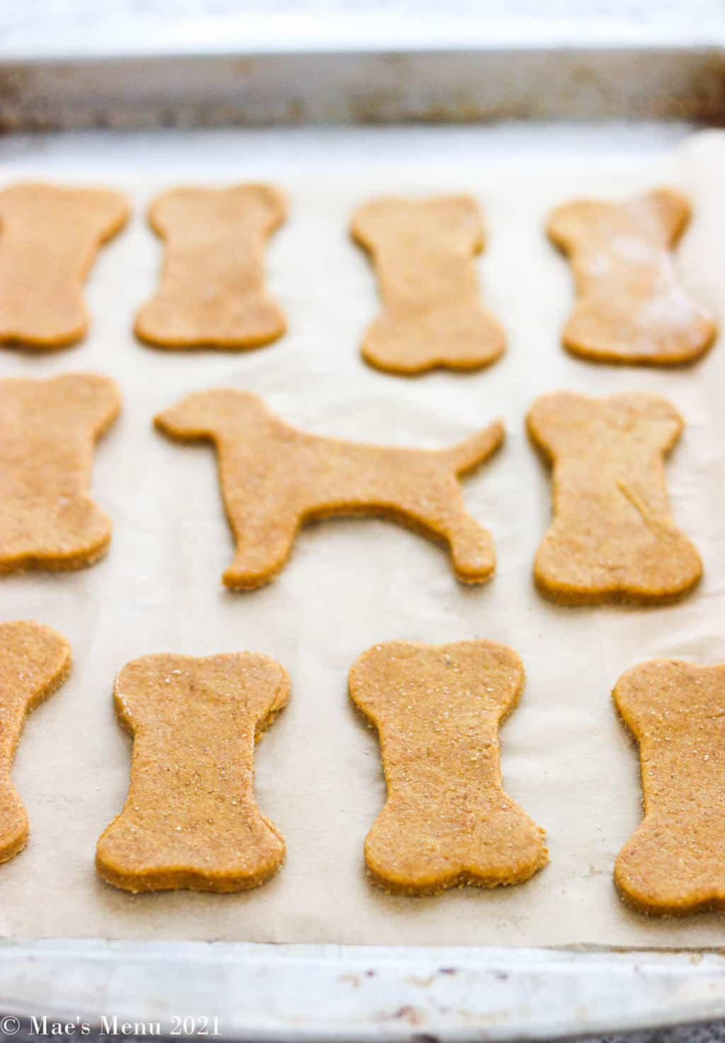 unbaked dog treats on a baking pan