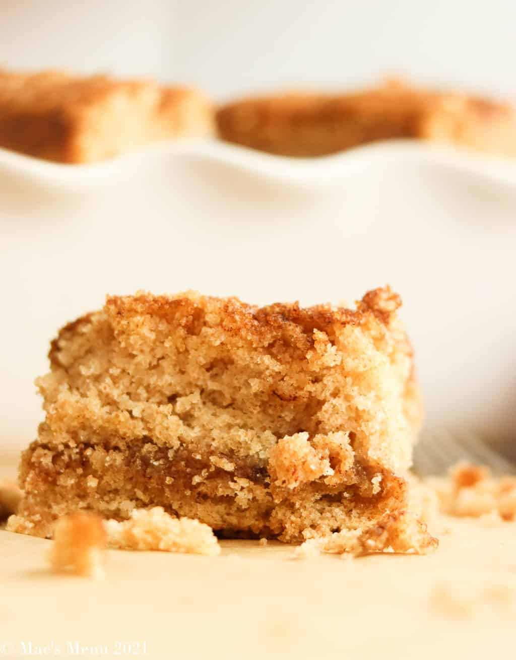 An up-close shot of a piece of coffee cake