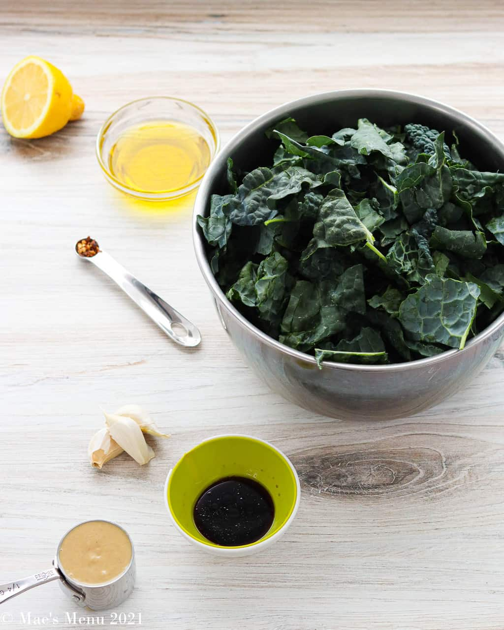 All of the ingredients for the warm kale salad