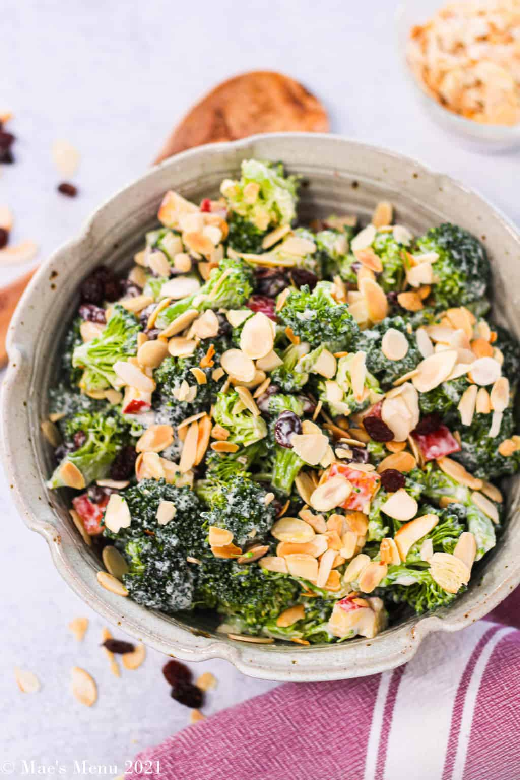 An up close over head shot of a bowl of broccoli raisin salad in a stone color bowl
