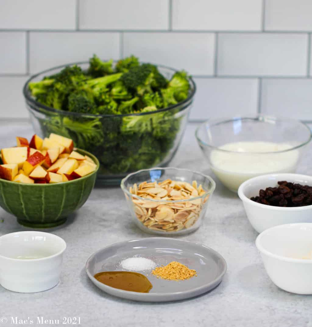 All the ingredients for broccoli and raisin salad