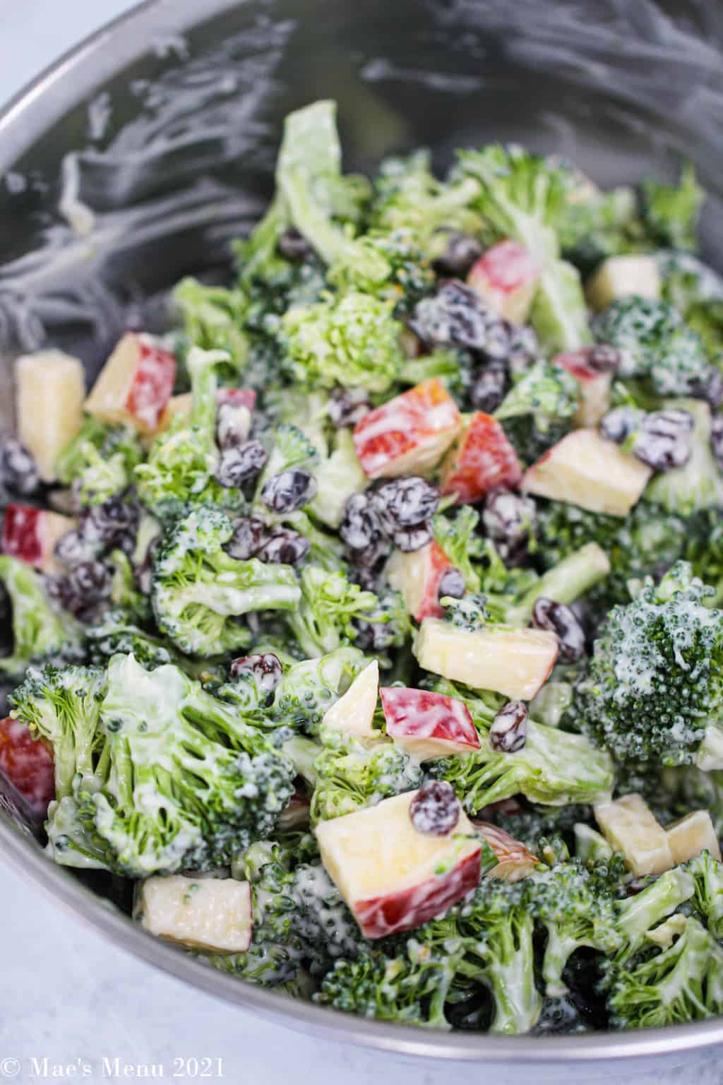 broccoli raisin salad mixed up and ready to serve