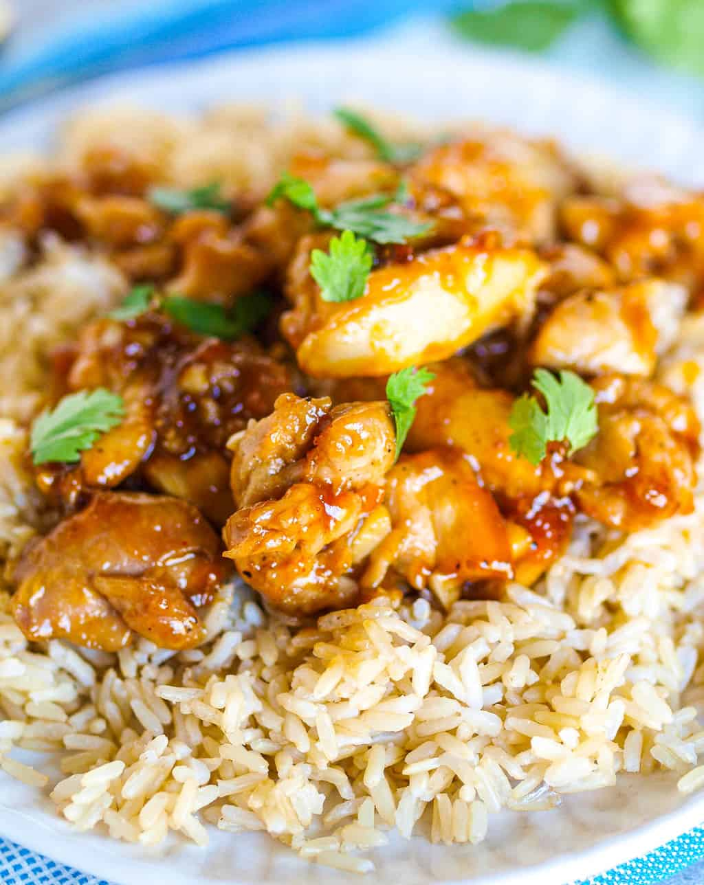 An up-close side shot of a plate of healthy orange chicken