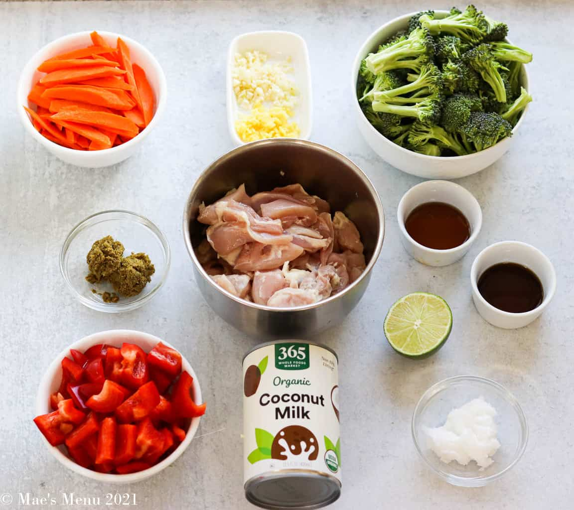All the ingredients for thai green chicken curry