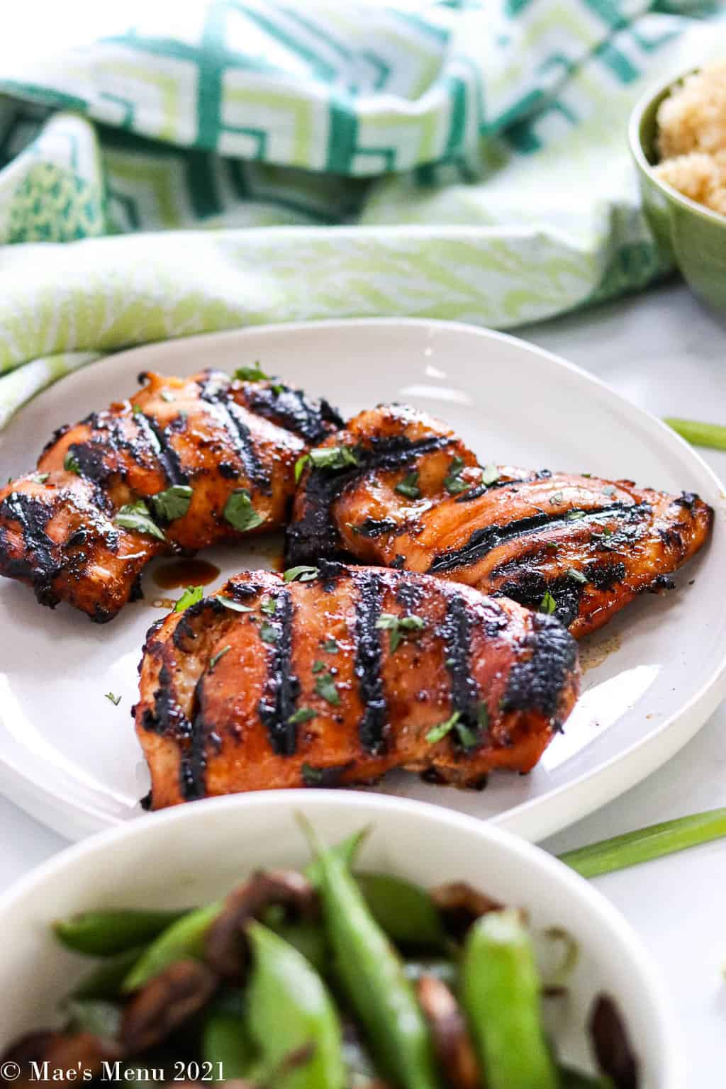 A plate of Asian marinated chicken