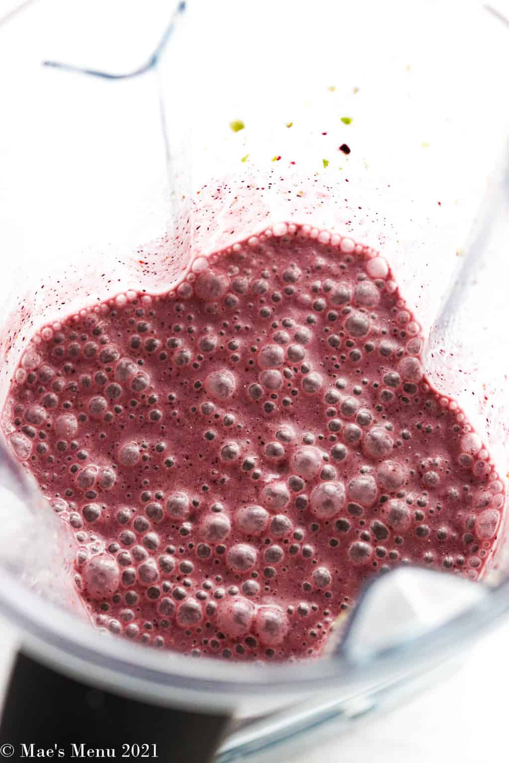 The smoothie in a blender