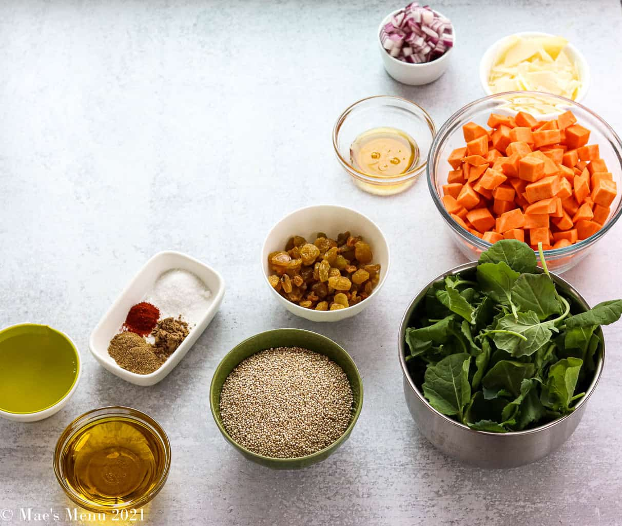 All the ingredients for sweet potato quinoa salad