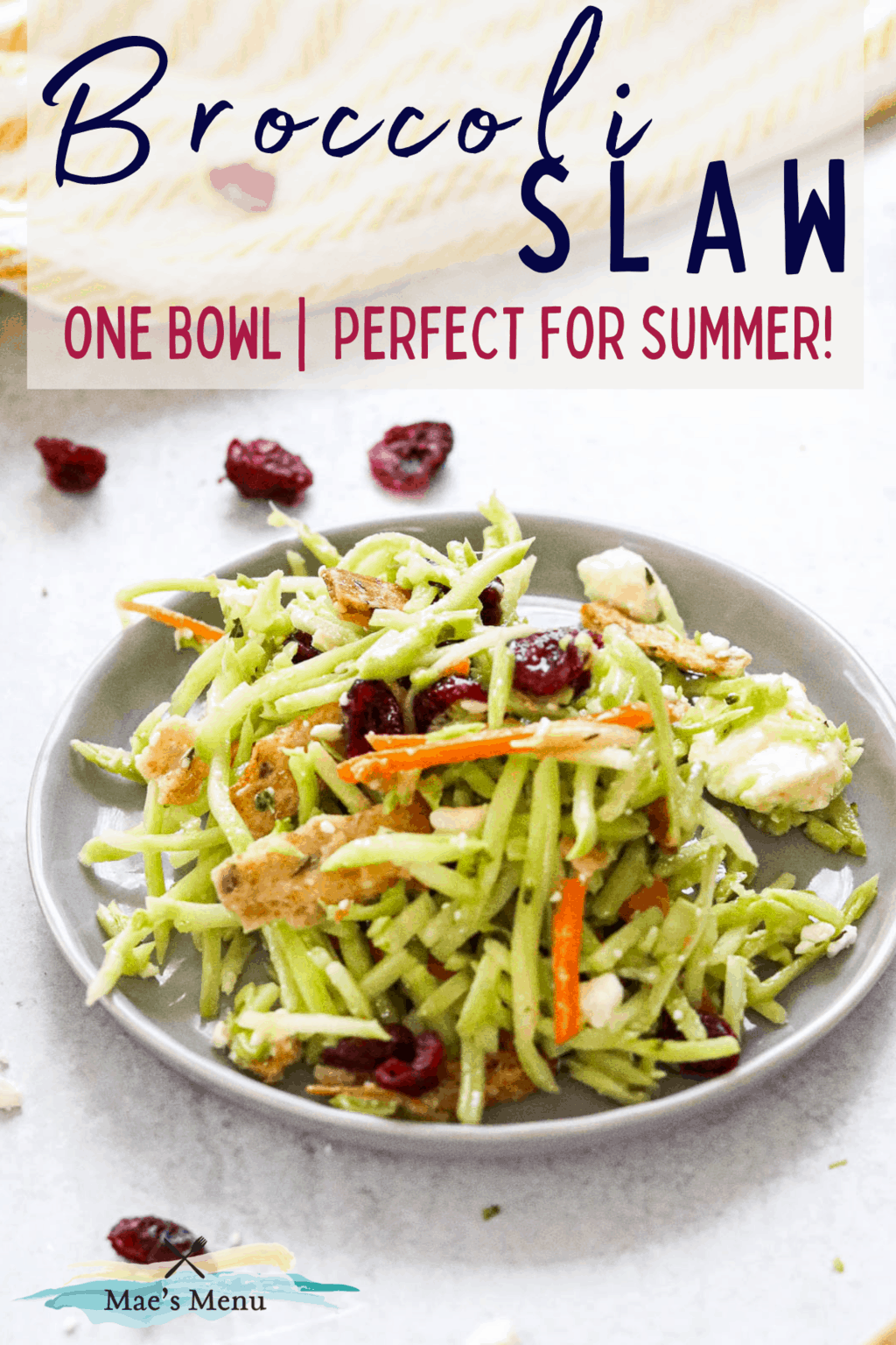 A pinterest pin for broccoli slaw with an up-close shot of a small plate of the slaw