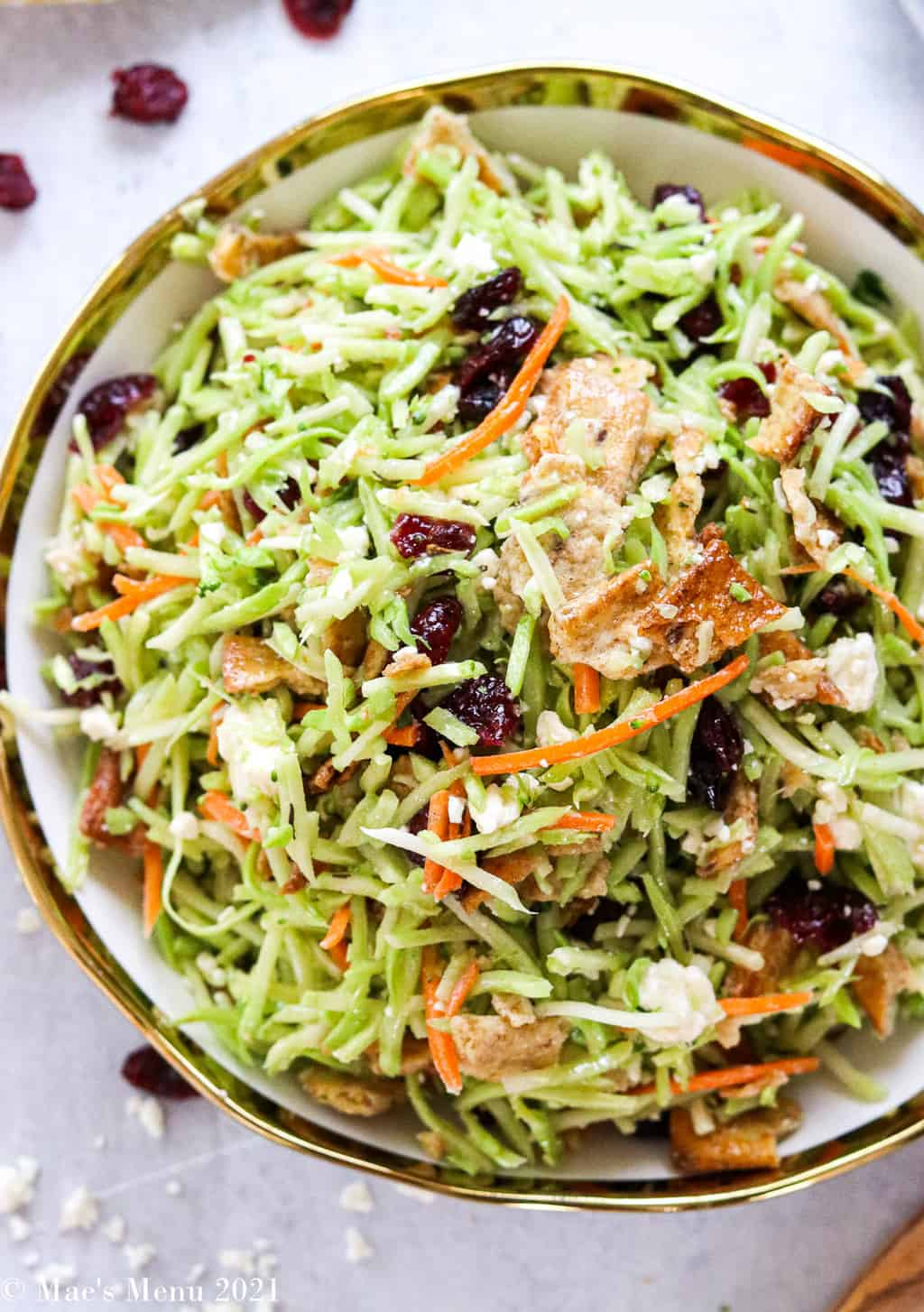 An up-close overhead shot of a serving bowl of my broccoli slaw recipe