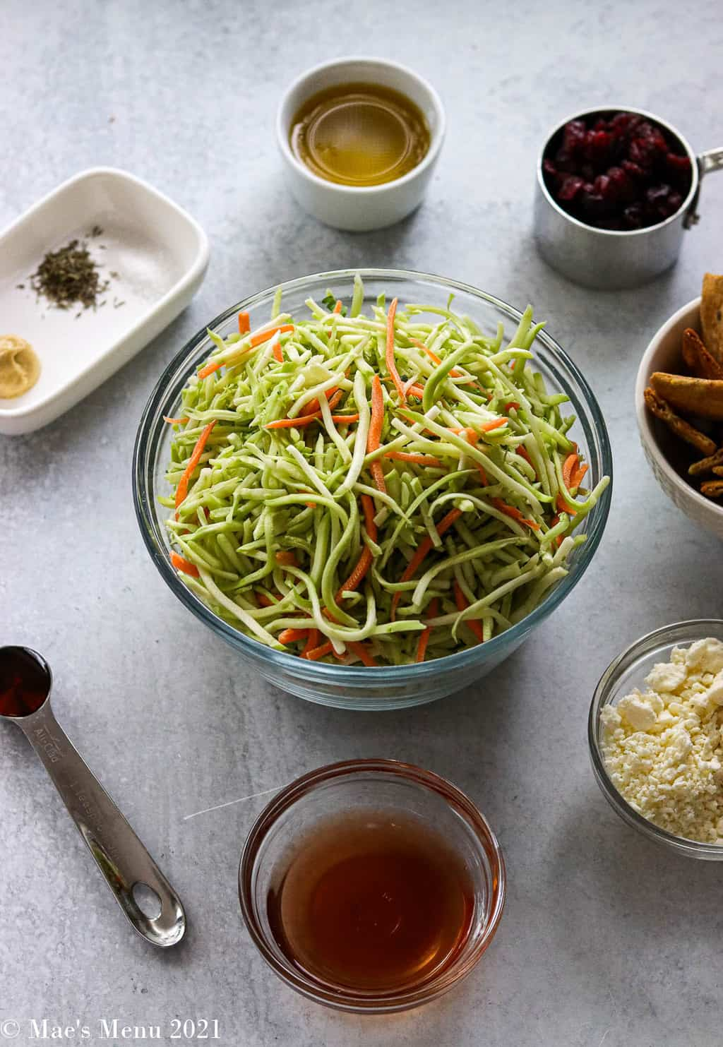 All of the ingredients for broccoli slaw salad