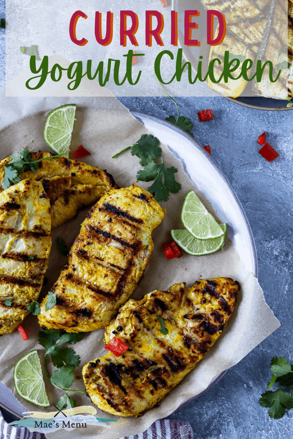 A pinterest pin for Yogurt grilled chicken with an overhead shot of a plate of the grilled chicken