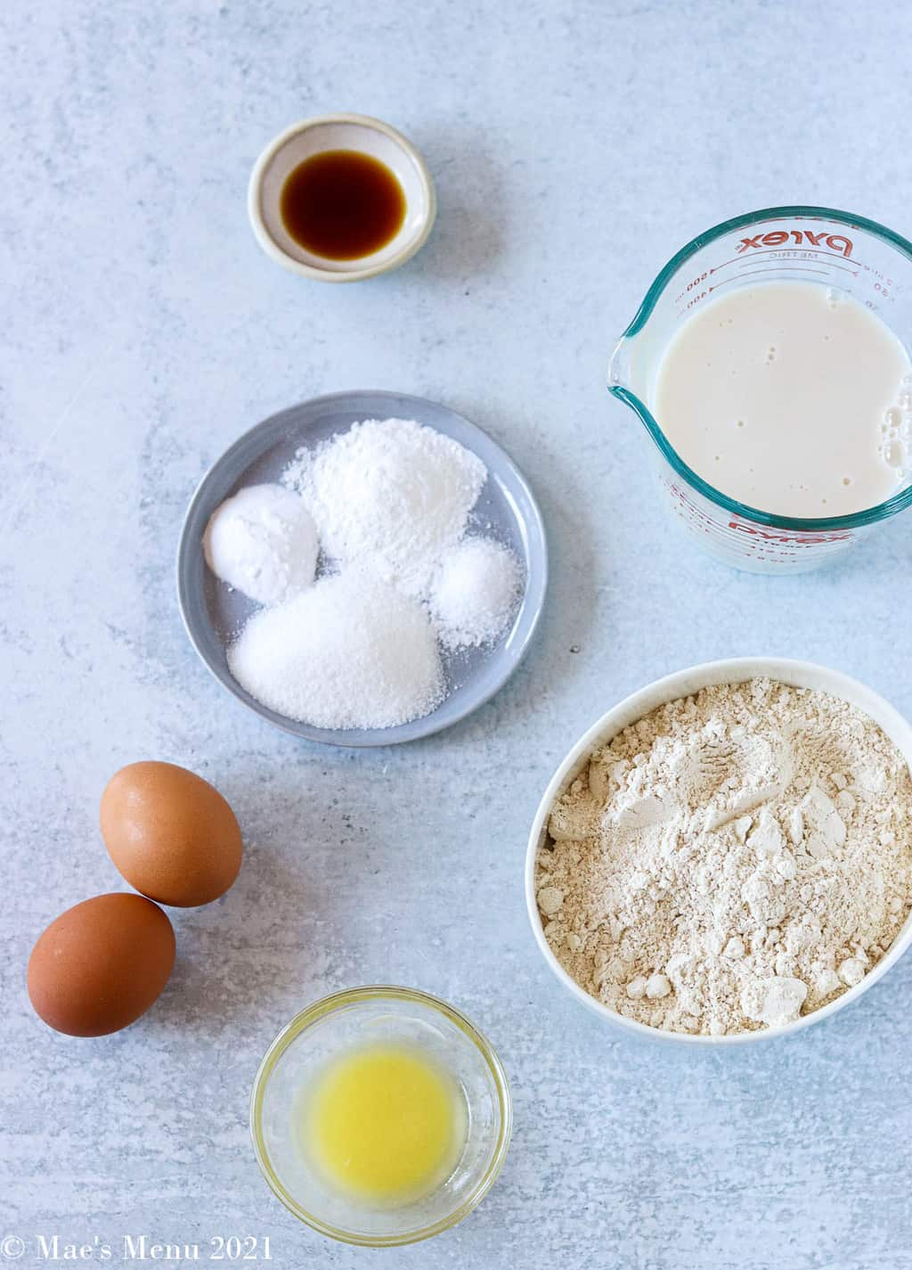 all the ingredients for fluffy whole wheat pancakes
