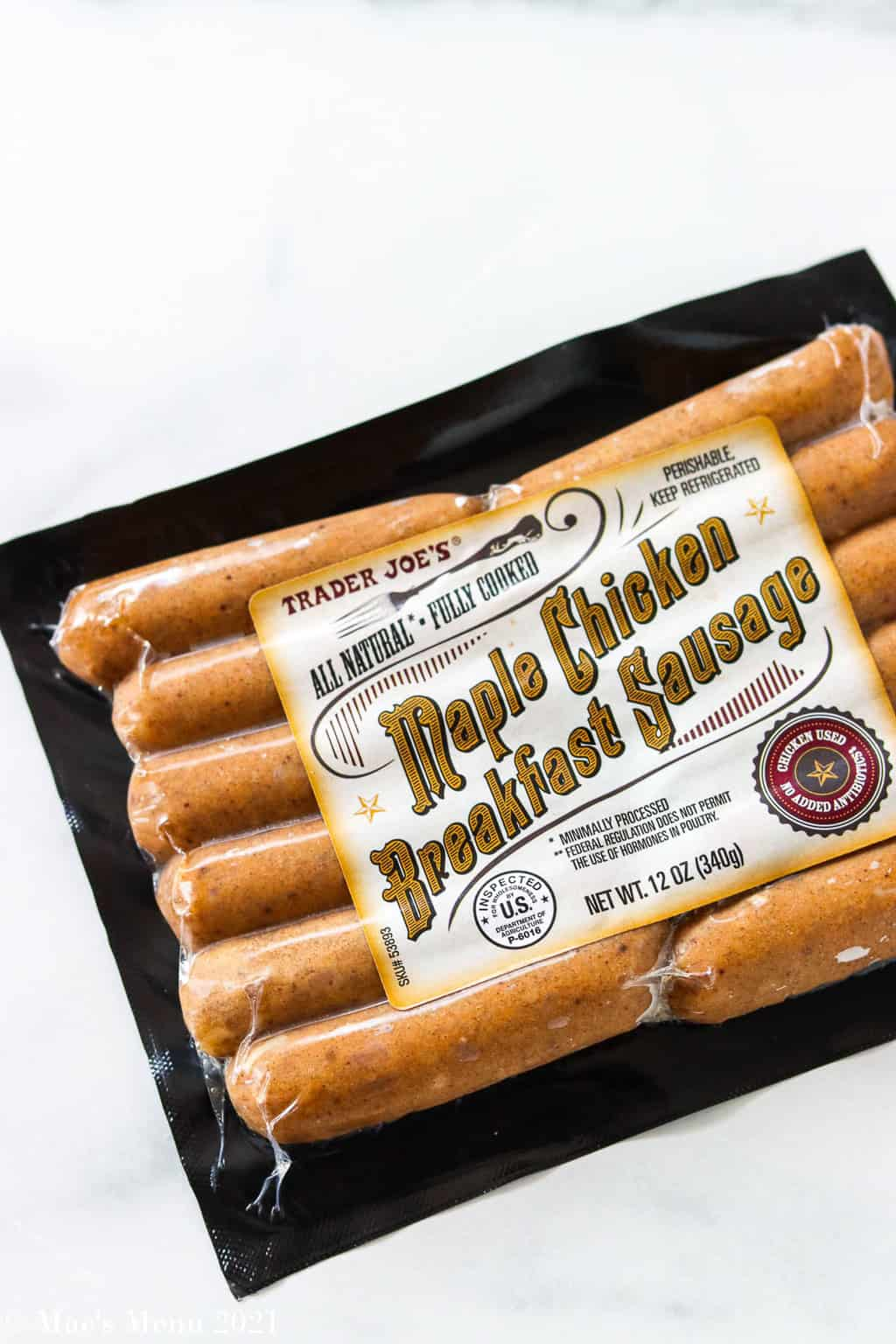 An overhead shot of a package of maple chicken breakfast sausage