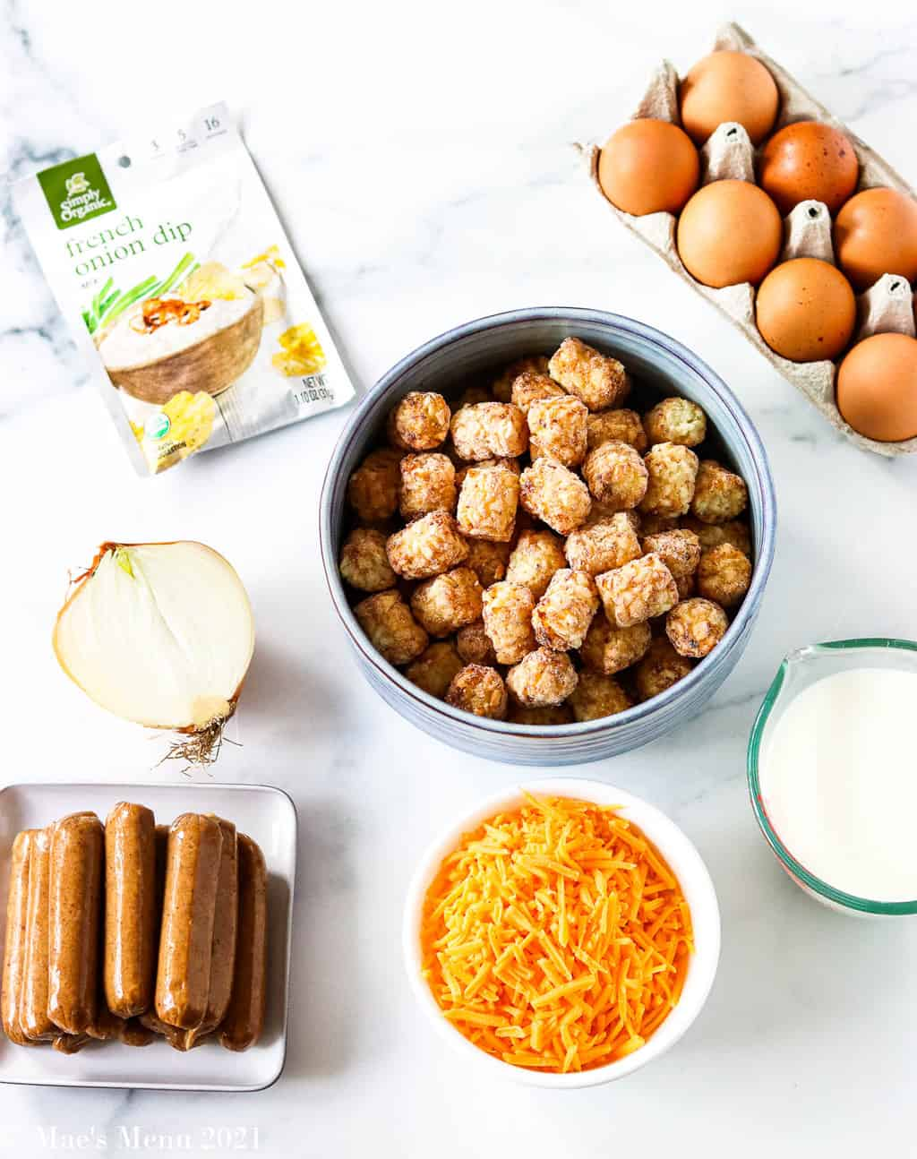 all the ingredients for breakfast tater tot casserole
