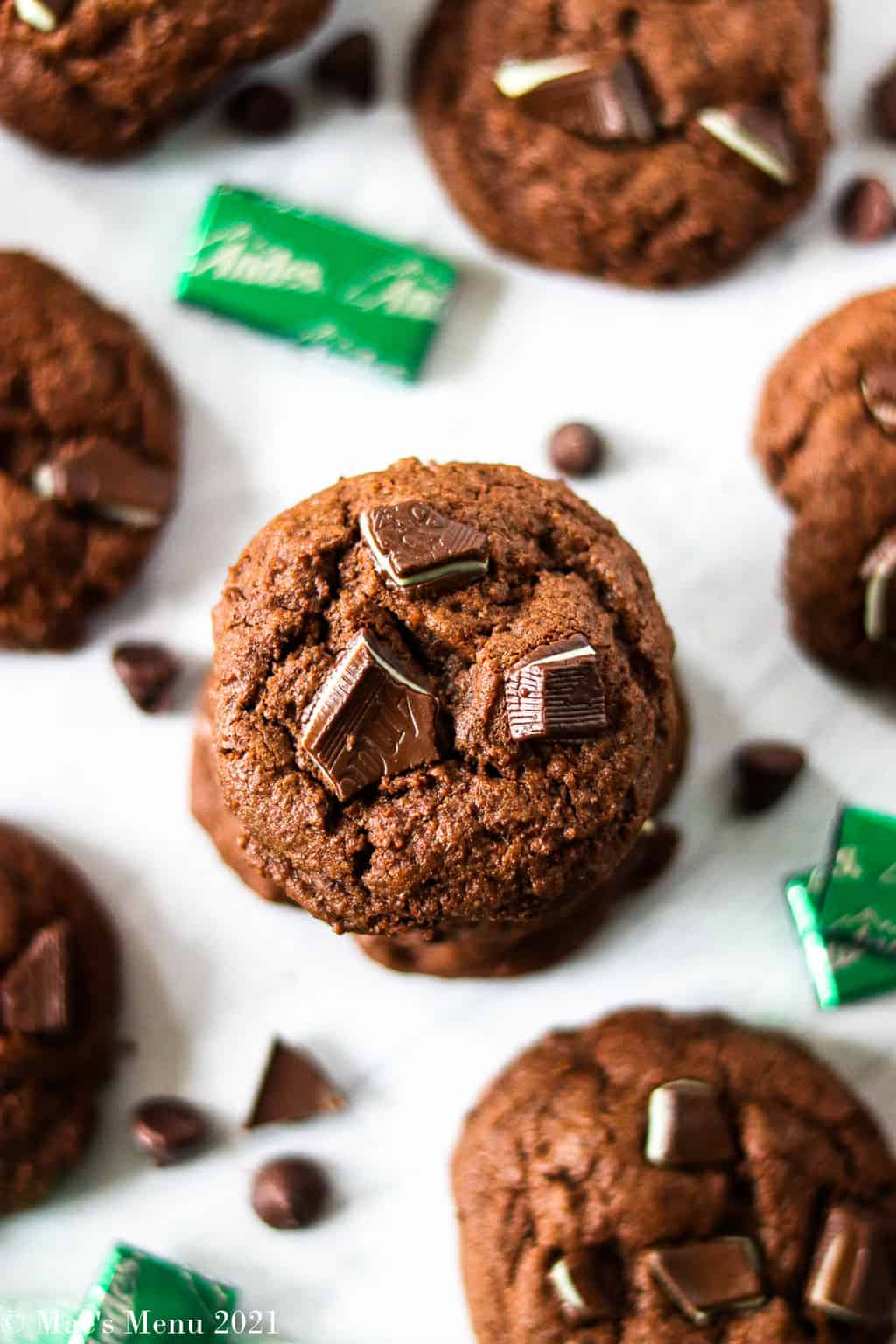An upclose overhead shot of a stack of andes mint chocolate chip cookies
