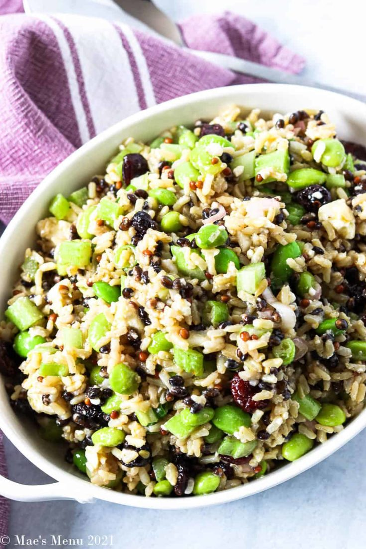 An overhead shot of a small white bowl of cranberry and edamame brown rice salad