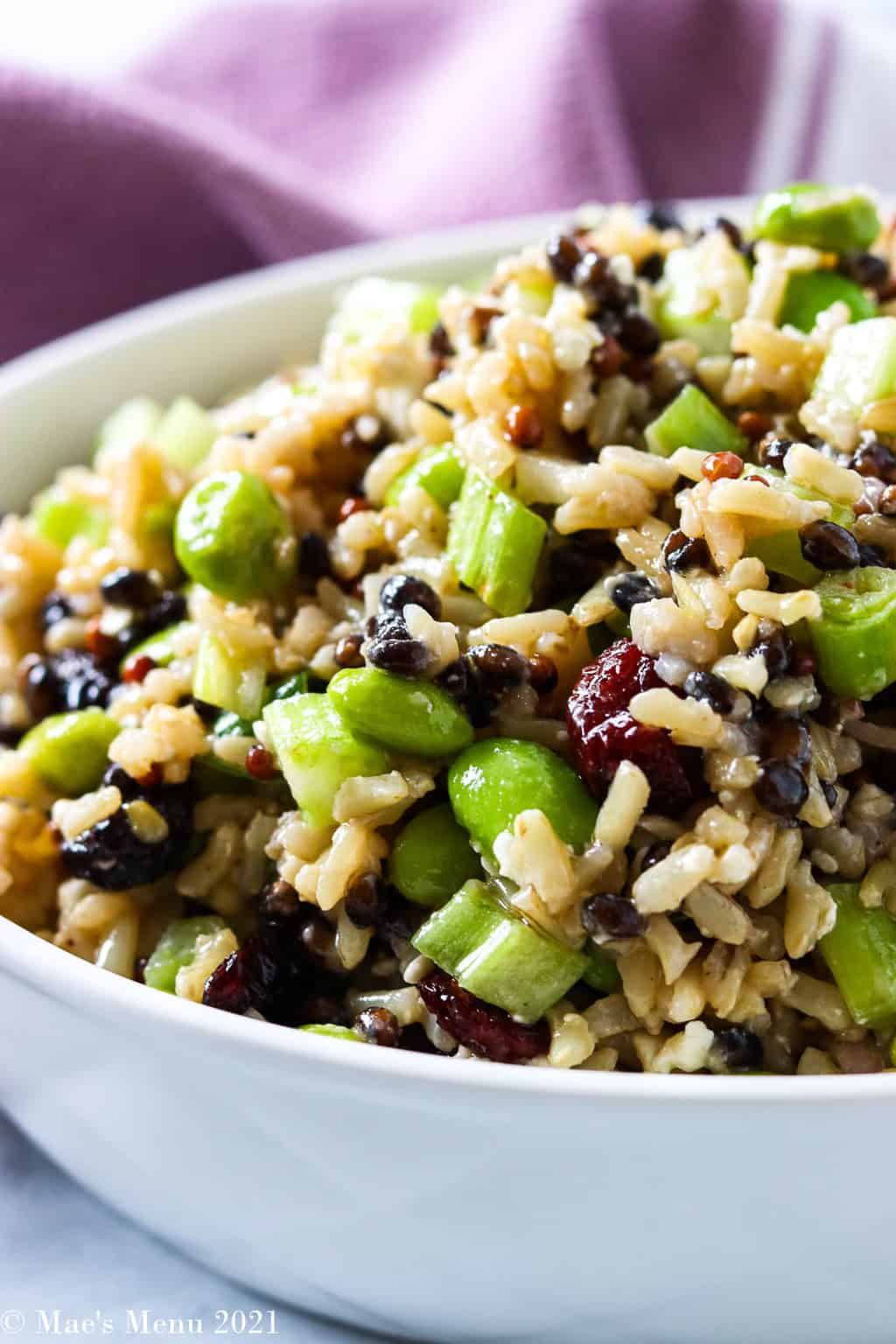 An up-close side sot of cranberry edamame rice salad in a white bowl