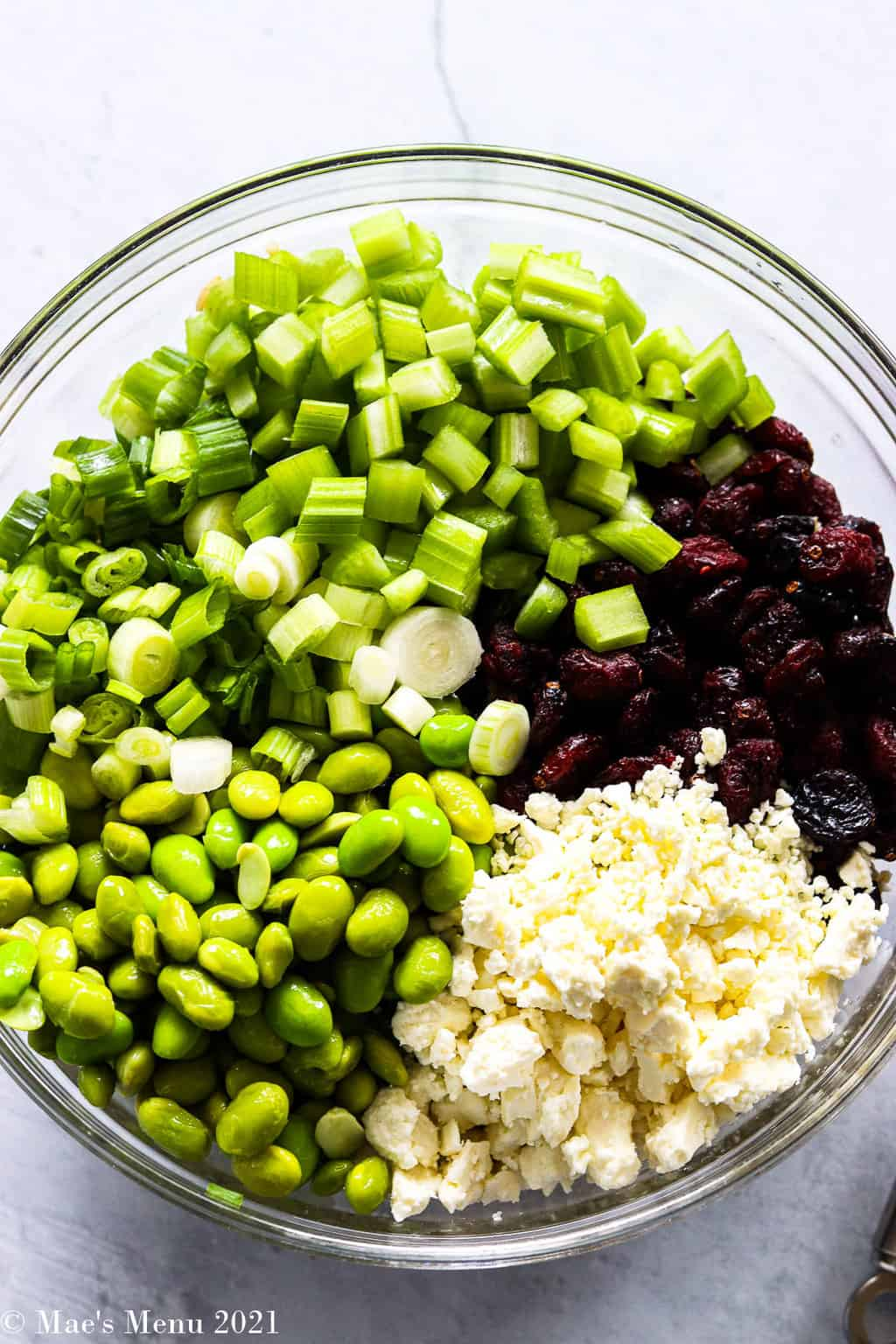 An overhead shot of a glass mixing bowl with celery, green onions, edamame, feta cheese, and cranberries