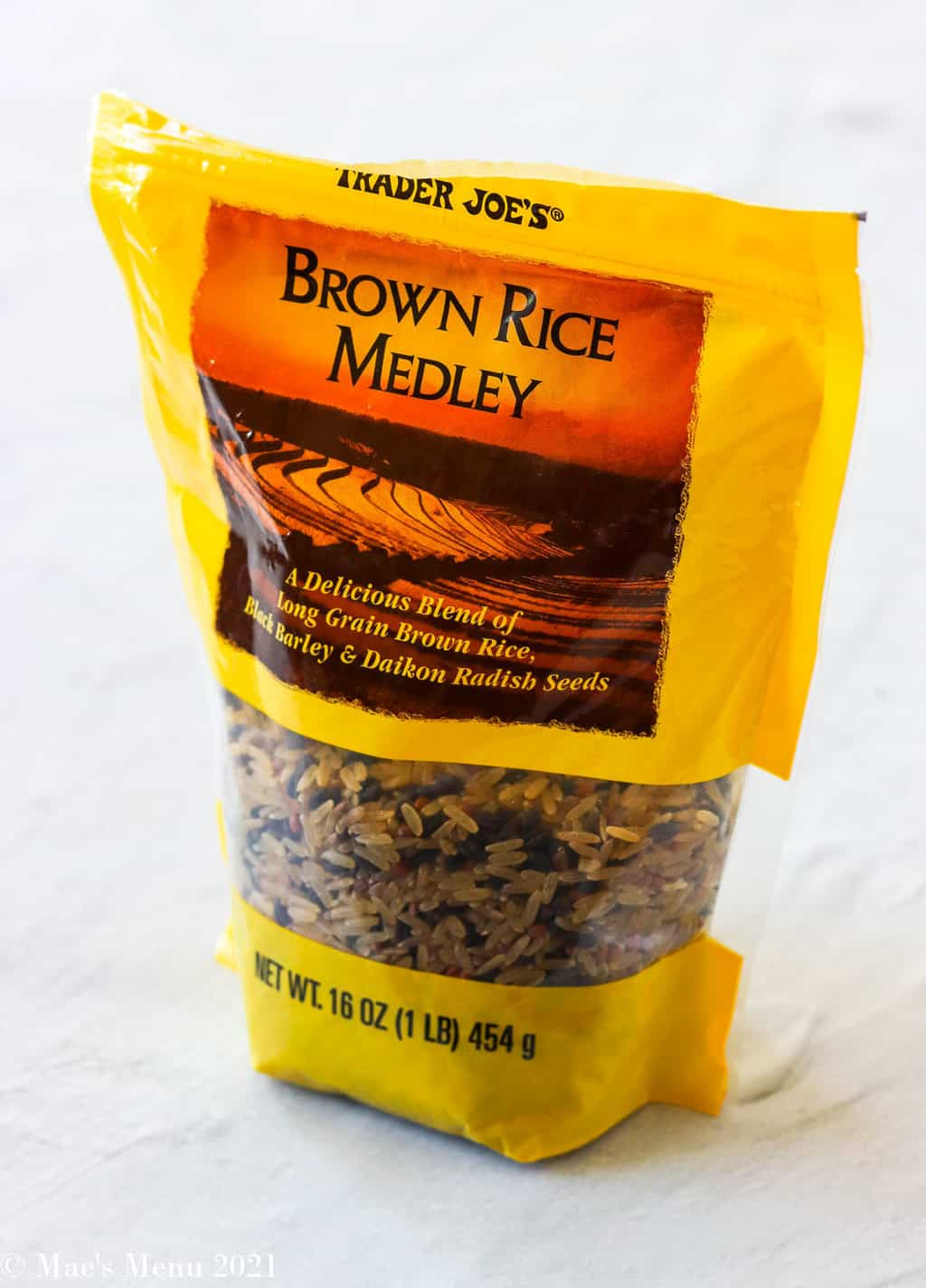 A package of Trader Joe's brown rice medley