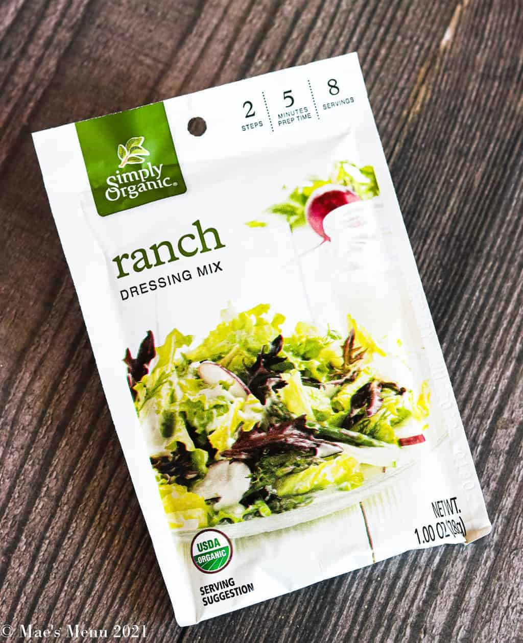An up-close shot of a packet of ranch dressing mix