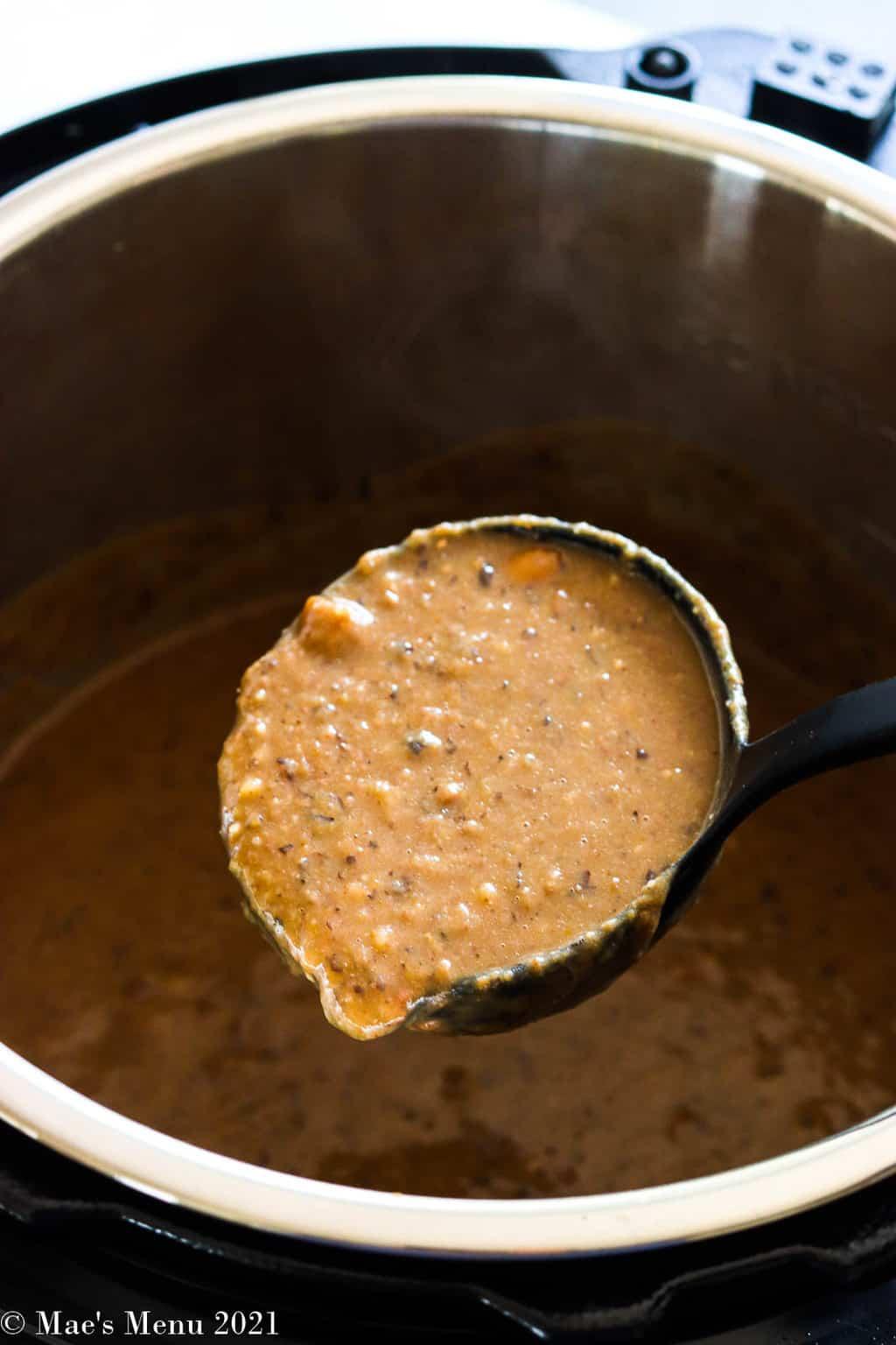 A ladle of Instant Pot Bean soup over an Instant pot