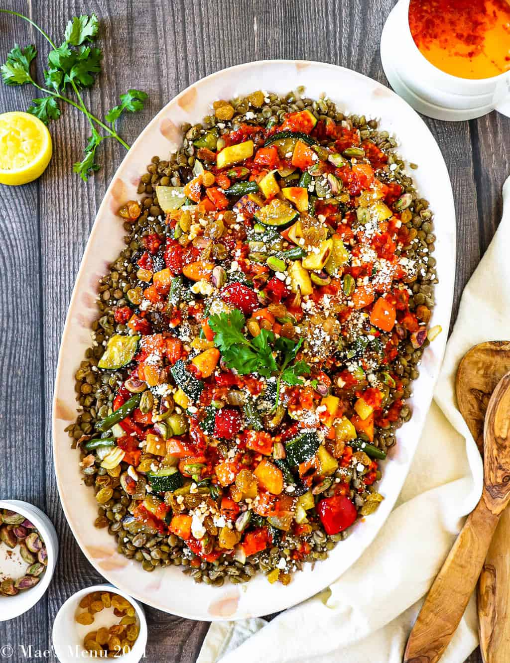 An overhead shot of a platter or moroccan roasted vegetable salad