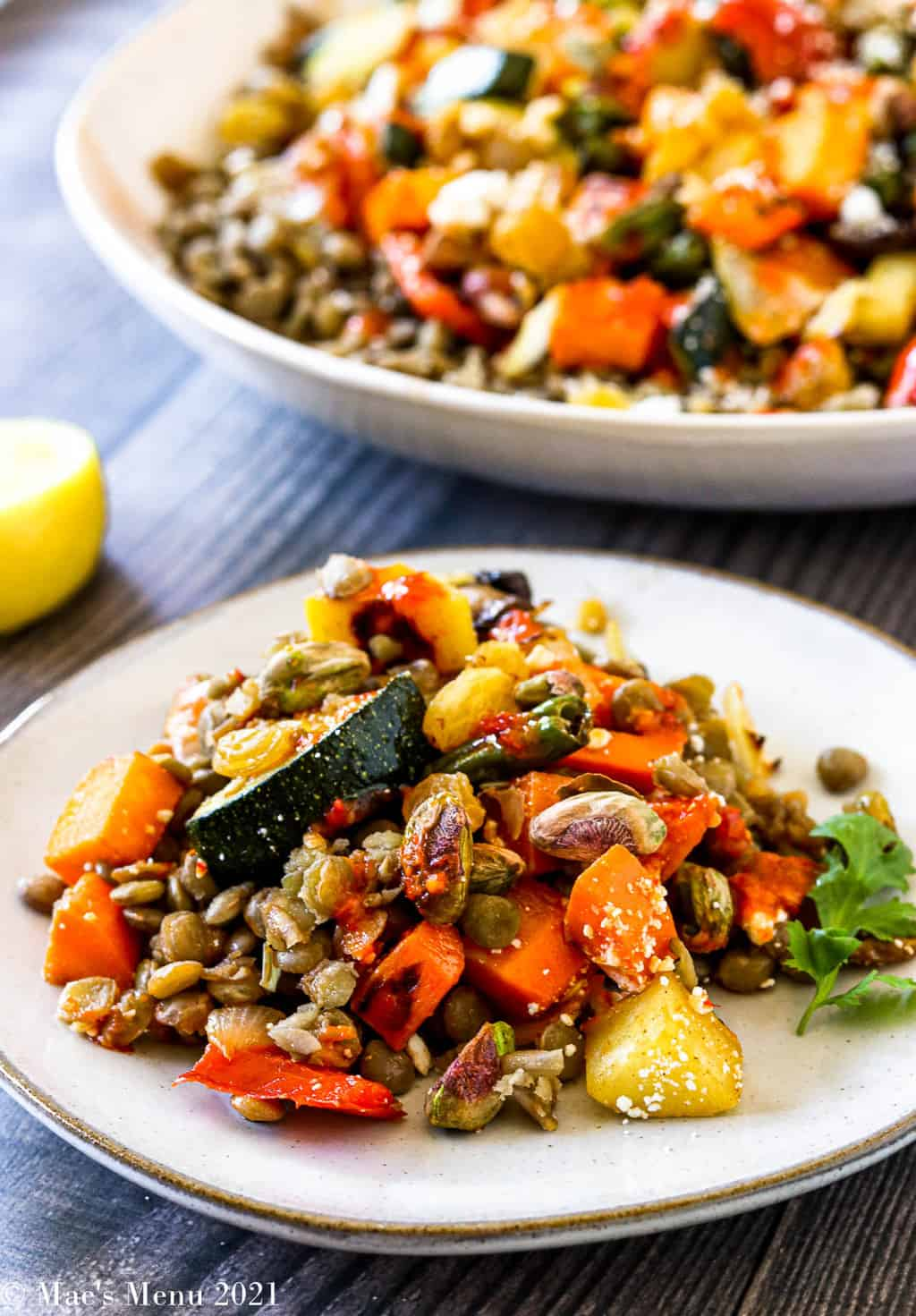 An up-close shot of a small dish of Moroccan roasted vegetable salad